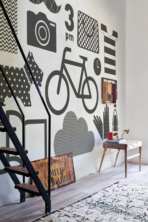 Ideje za foto tapete različiti crteži na zidu
