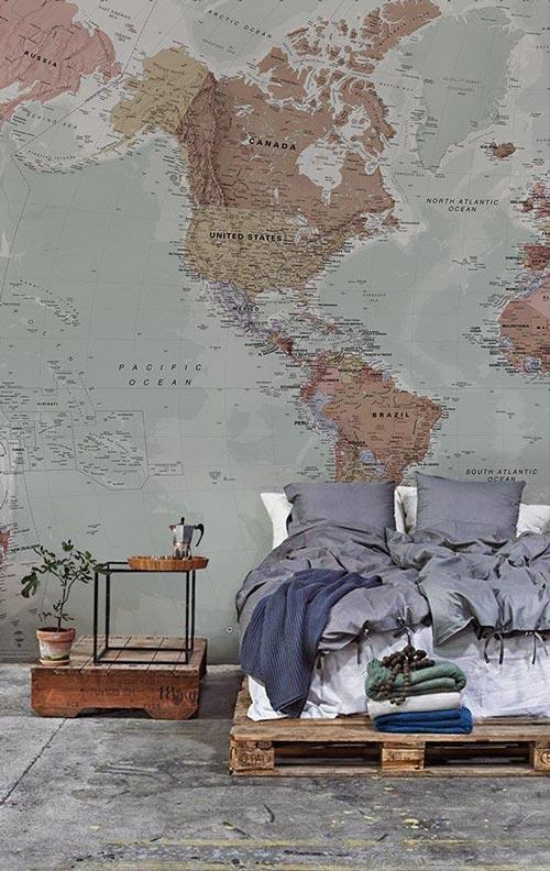 foto tapete za spavaće sobe Mapa Severne Amerike