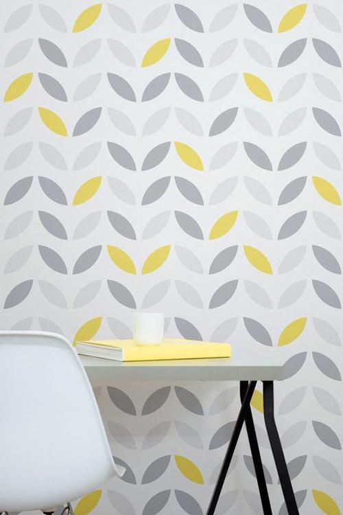 Foto tapete za dnevne sobe sivo žuti oblici