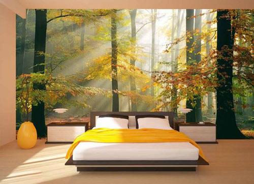Foto tapete na zidu spavaće sobe sunce u šumi