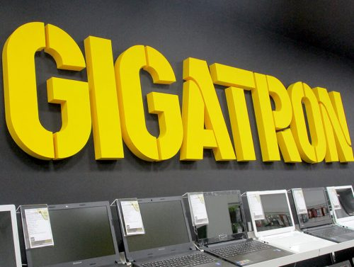3D slova od stirodura logo Gigatron